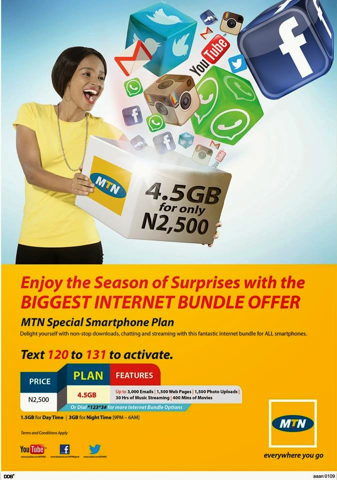 MTN new 4.5GB for N2500 Smartphone data plan
