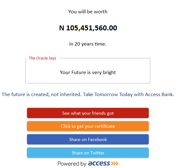 how much you will worth in 20 years time
