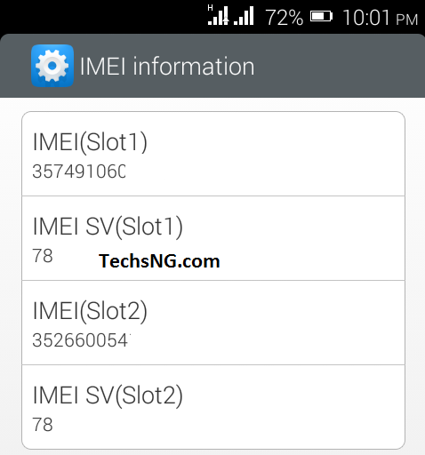 New Blackberry IMEI number on infinix hot