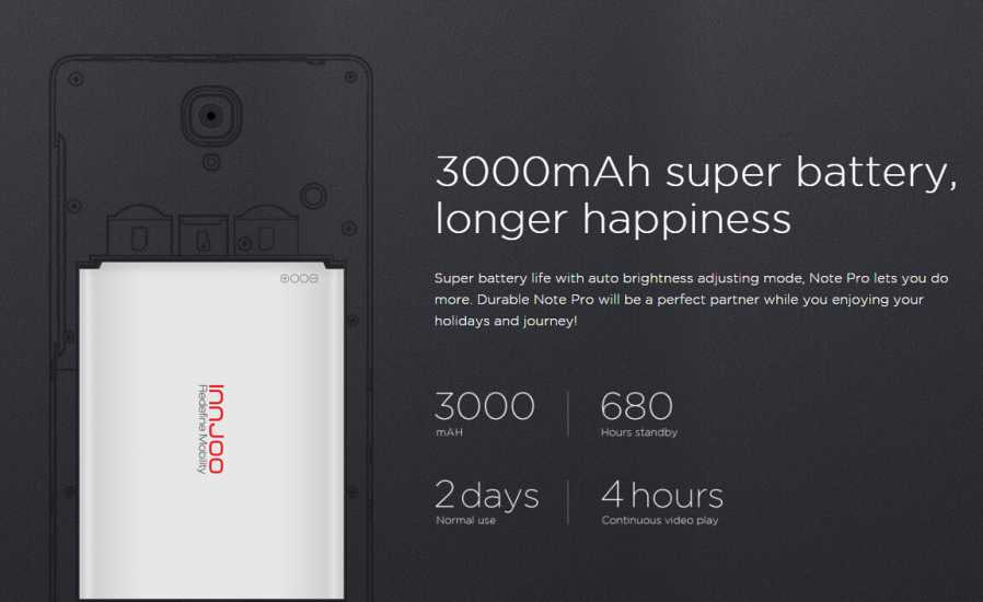Innjoo note battery life