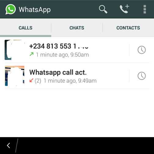 whatsapp call feature on bb10 and android