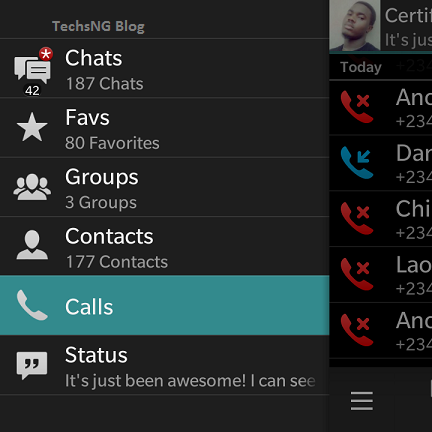 view whatsapp voice call logs on blackberry 10