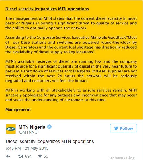 mtn tweet on fuel scarcity