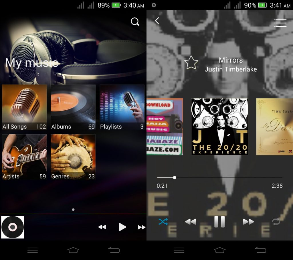 music player interface on infinix zero 2