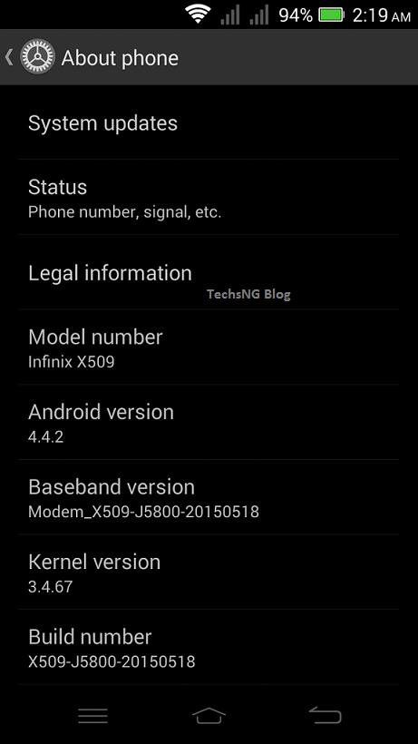 Stock font on the infinix zero 2 x509 phone