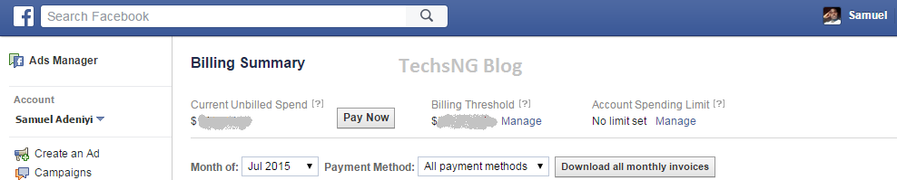 Old facebook ads manager user interface
