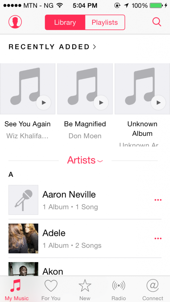 music player interface on iOS 8.4
