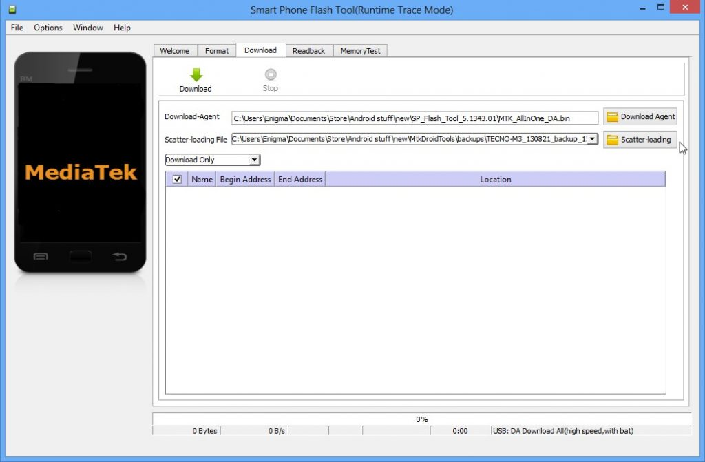 Using SP Flash tool in unbricking android phone