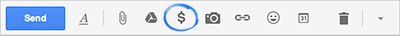 Gmail Compose icon to attach money