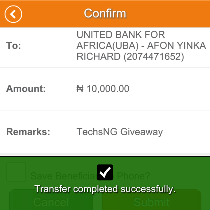 techsng giveaway winner one