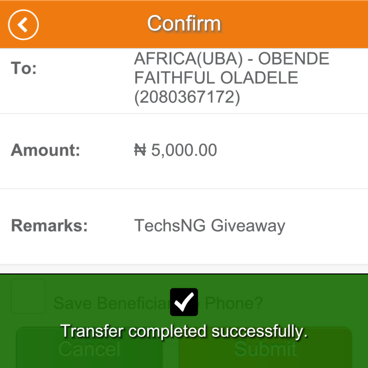 techsng giveaway winner two