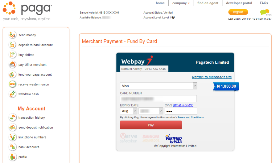 pay GoTV subscription using mypaga payment service