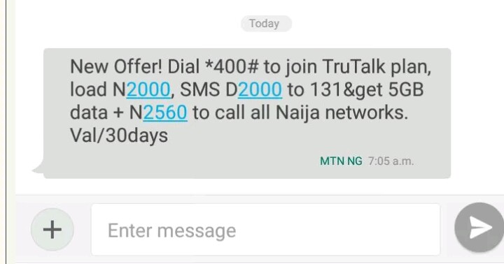MTN 5gb for 2000