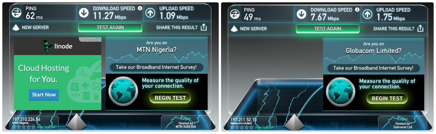 mtn and glo network speed test