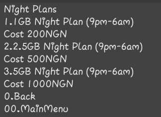 mtn night plans giving 5GB for N1000