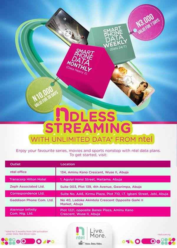 ntel new data plans and outlets