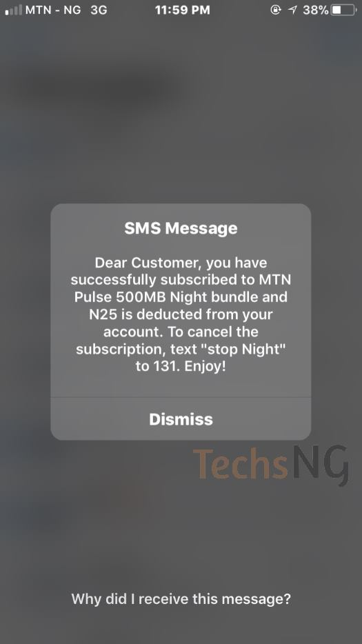 successfully subscribed to MTN night browsing plan