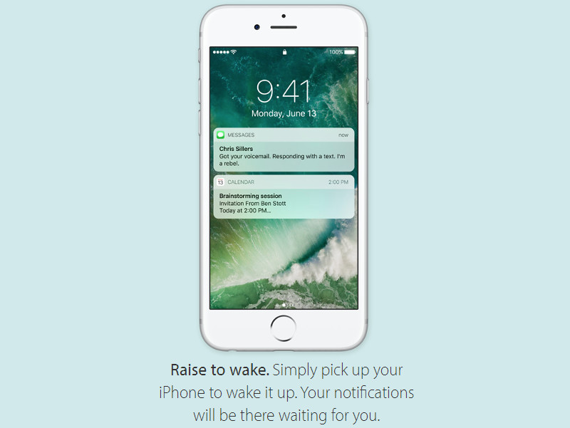 Raise to wake feature on iOS 10
