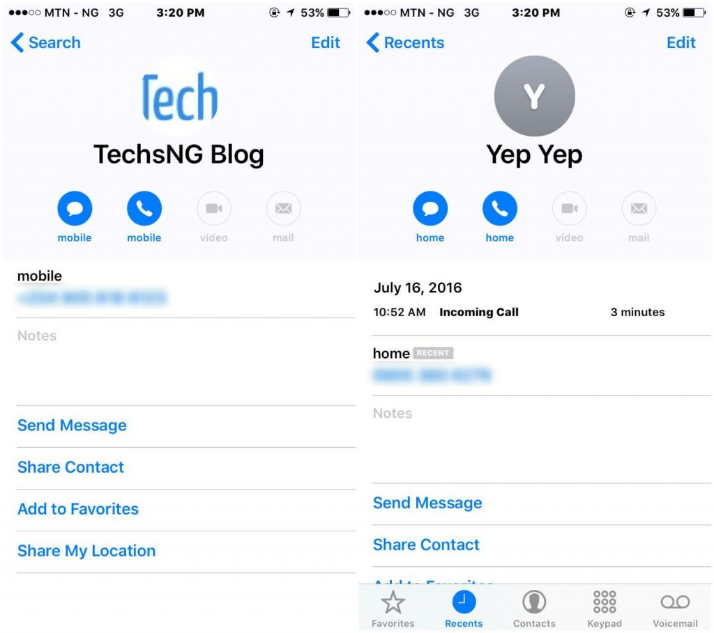 contacts Interface on iOS 10