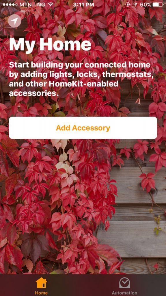 home app on the iOS 10
