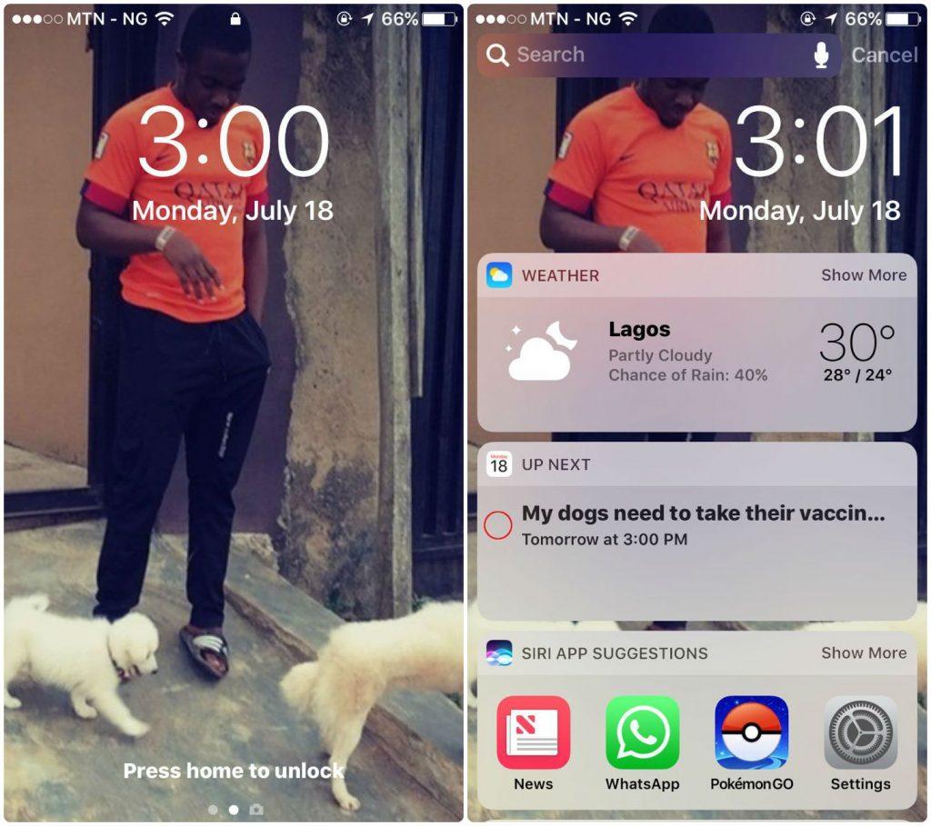 iOS 10 lock screen on iPhone 6