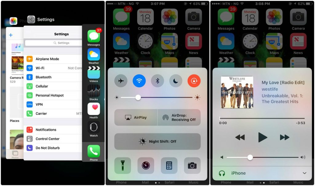 iOS user interface on iPhone 6