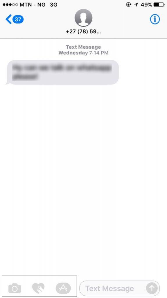 message app on iPhone 6 running iOS 10
