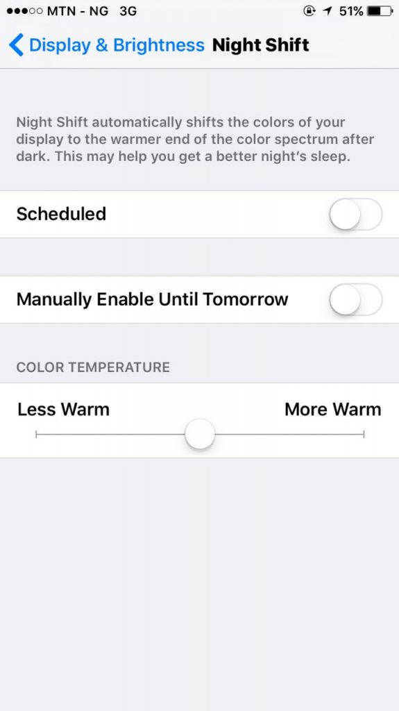 night shift mode on iOS 10