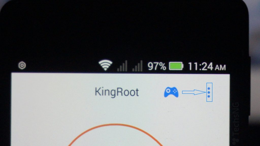 Tap the option icon on Kingroot application