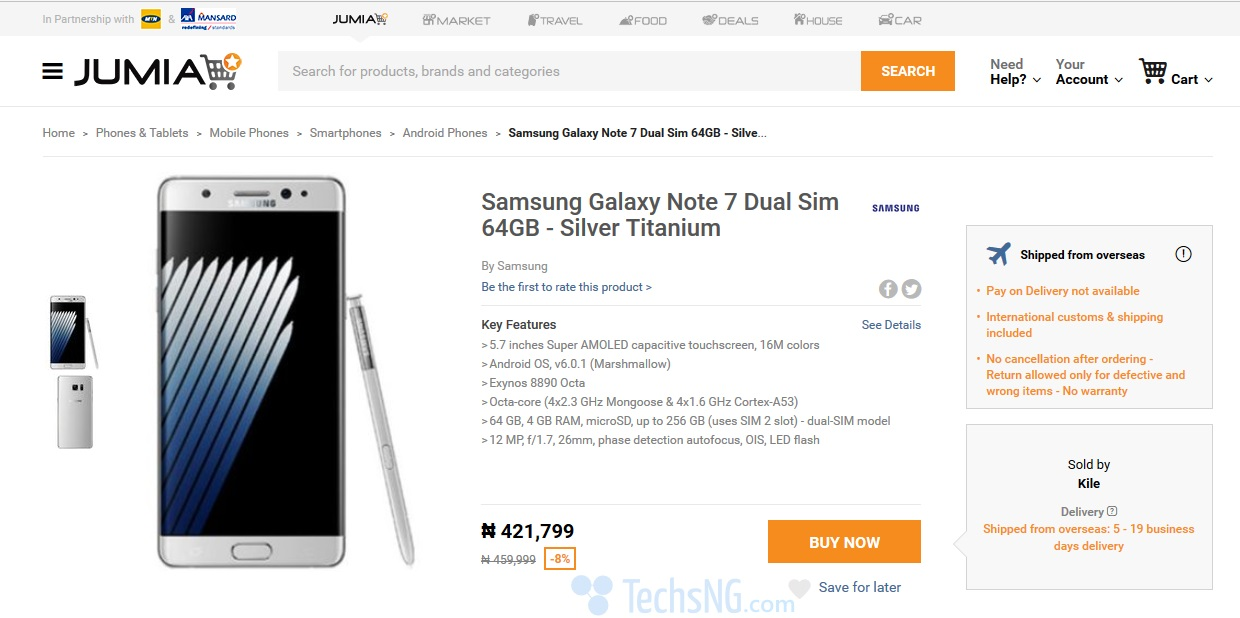 Samsung Galaxy Note 7 price on Jumia Nigeria
