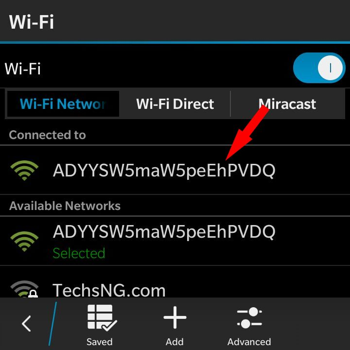 Blackberry 10 Phone connected to Android phone Xender hotspot