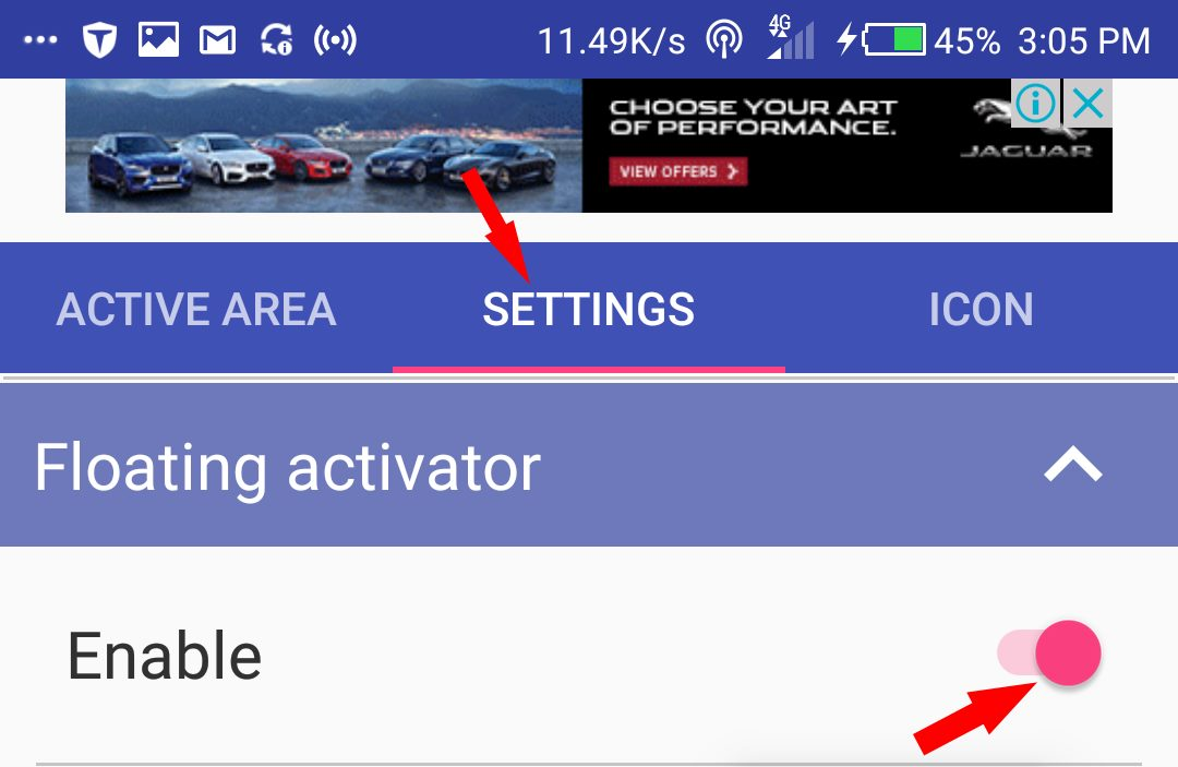 Settings to turn on menu buttons on android