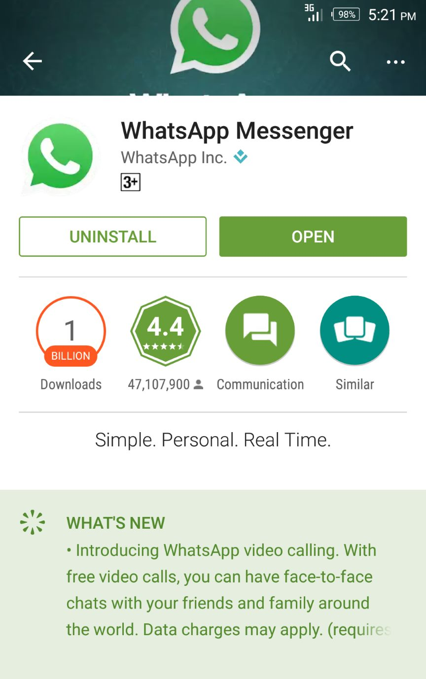 update whatsapp to latest version on android