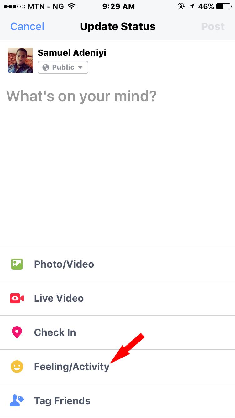 feeling activity option on facebook