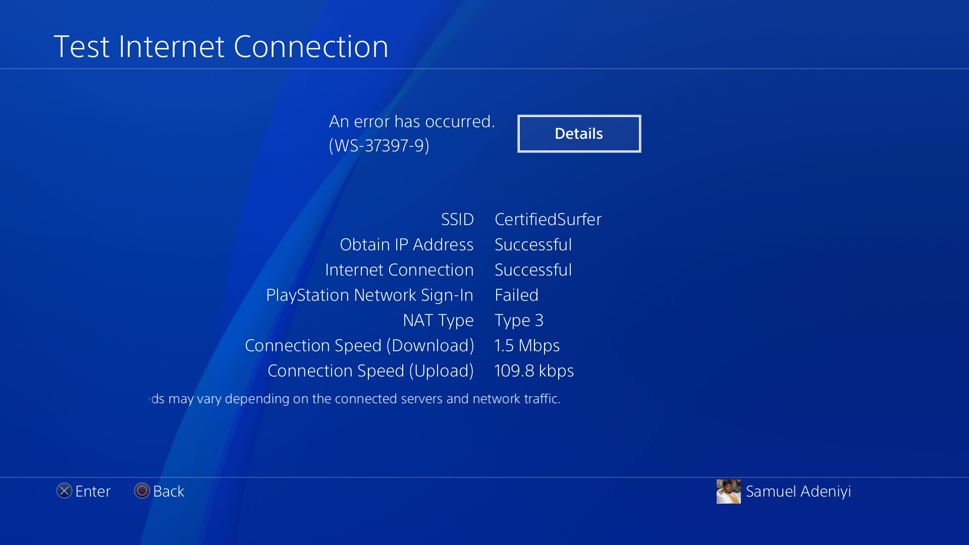 Unable to connect to Playstation network