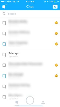 Snapchat chat list menu