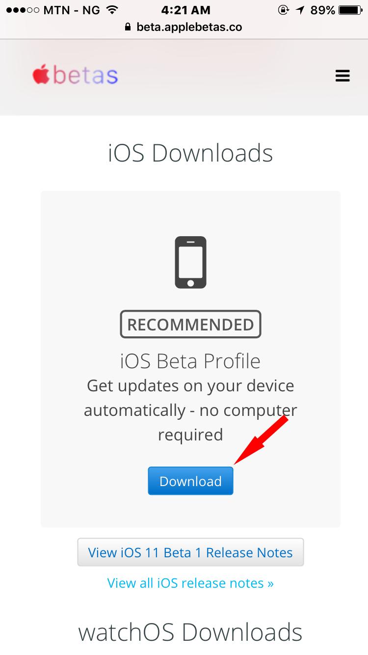 iOS 11 Beta profile download