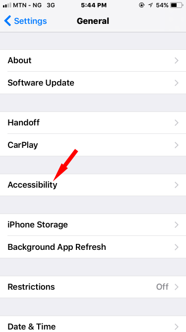 Accessibility option on iPhone running iOS 11