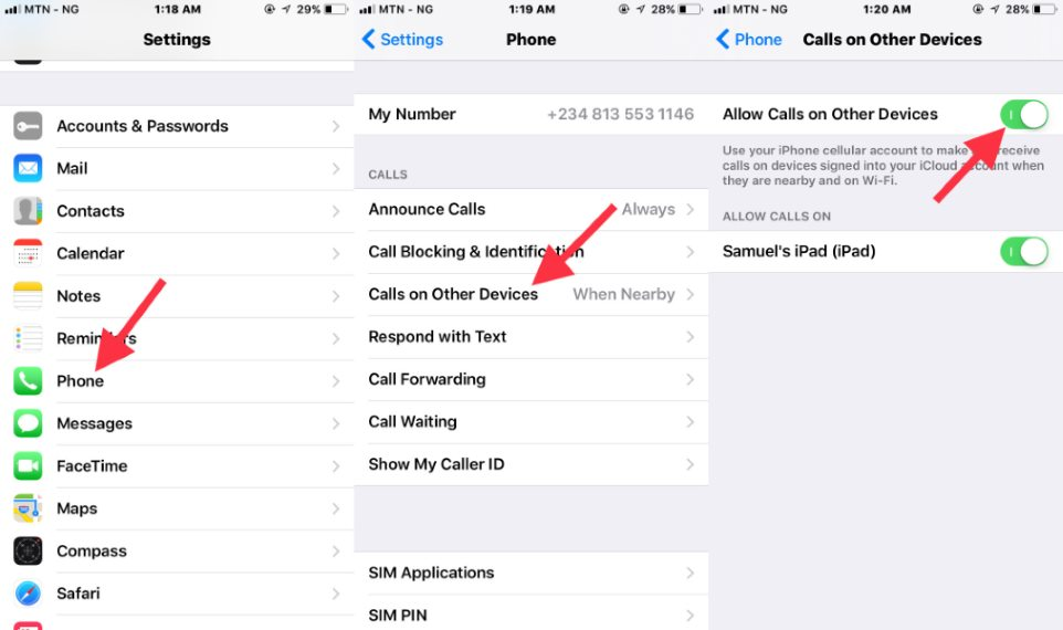 Deactivate iPhone to iPad phone calls sychronization on iOS 11