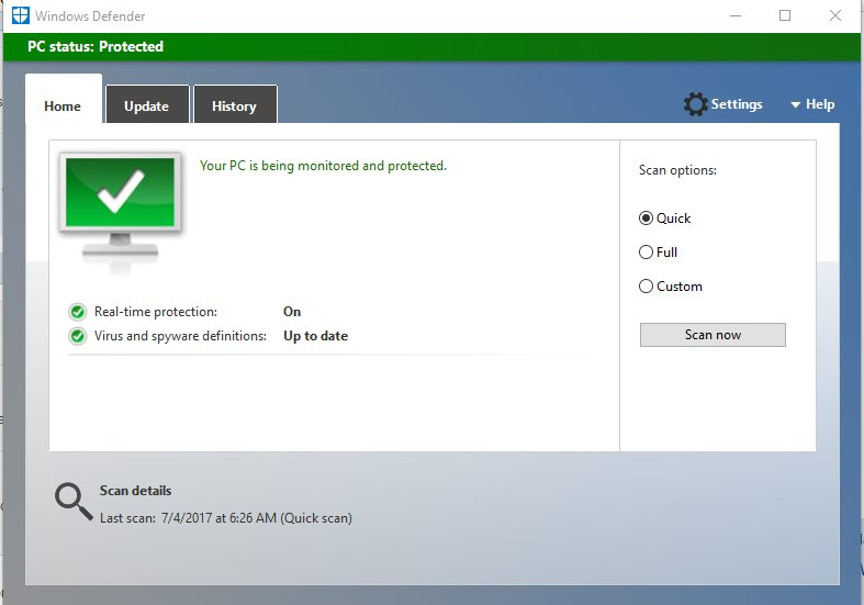 No virus detected using windows defender on Windows 10 computer