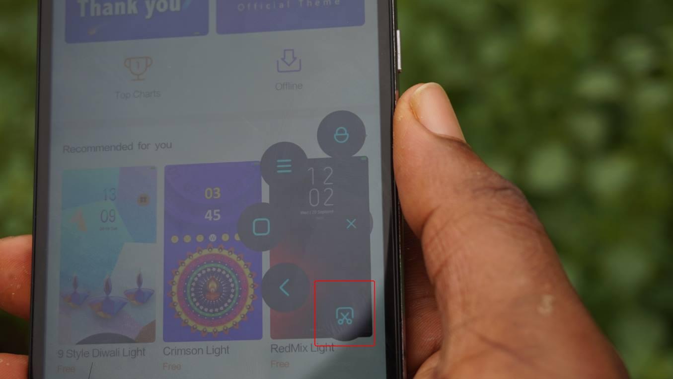 Take screenshot on xiaomi android phone via quick ball options