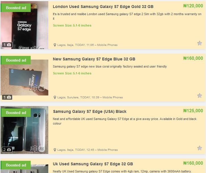Samsung galaxy s7 edge price on jiji.ng