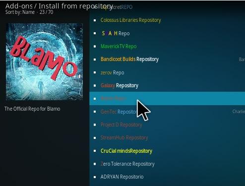 click blamo repo to install kodi addons