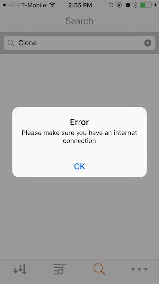Error message on downcloud