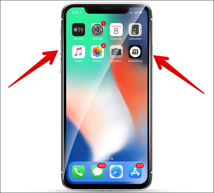 Press Side Button and Volume Up or Down Button to Turn Off iPhone X