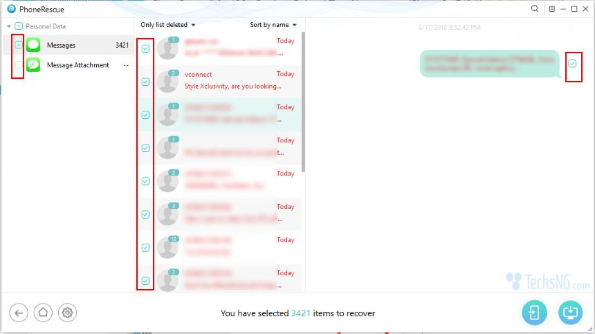 Select sms text messages to be retrieved to iPhone