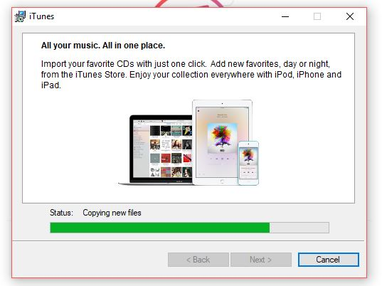 Windows currently installing iTunes