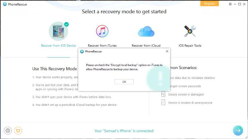 encrypt local backup to allow phonerescue backup
