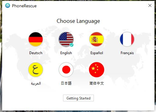 language options to choose from on phonerescue for iOS on windows PC