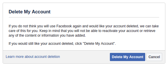 delete Facebook permanently option